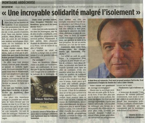 Hebdo ardeche article AB 16 juin 2011