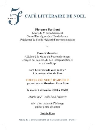 Café littéraire mairie 5e Paris 4 dec 2018